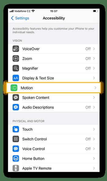 Als u de manier wilt aanpassen waarop bewegingen worden weergegeven op uw iPhone (met name binnen apps), selecteert u de optie Beweging op het tabblad Toegankelijkheid.