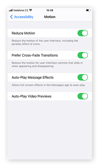 Choose from 4 motion types: Reduce Motion, Prefer Cross-Fade Transitions, Auto-Play Message Effects, and Auto-Play Video Previews.