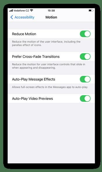 Kies uit 4soorten bewegingen: Verminder beweging, Gebruik vervagingen, Speel effecten automatisch af en Speel automatisch videovoorvertoningen af.
