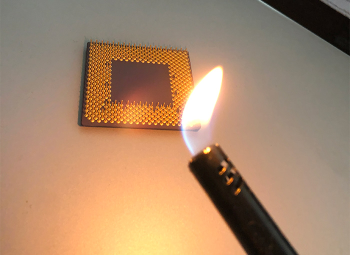 Burning a CPU with a lighter is also a bad way to stress test a CPU.