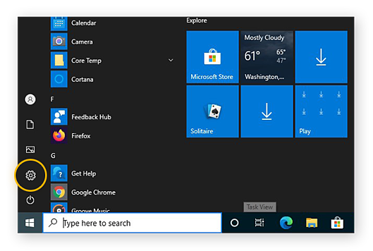 Opening the Windows 10 Settings from the Start menu