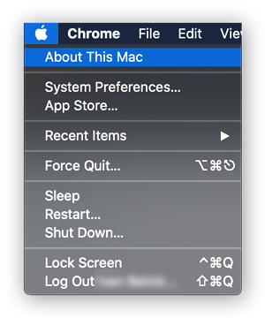 """Viewing device information in macOS Catalina by clicking the Apple menu and selecting """"About This Mac"""""""