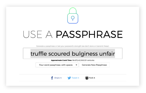 Creating a passphrase with the Use A Passphrase website.