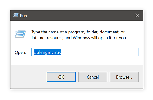 Using the Run dialog box and diskmgmt to prepare to reformat a drive