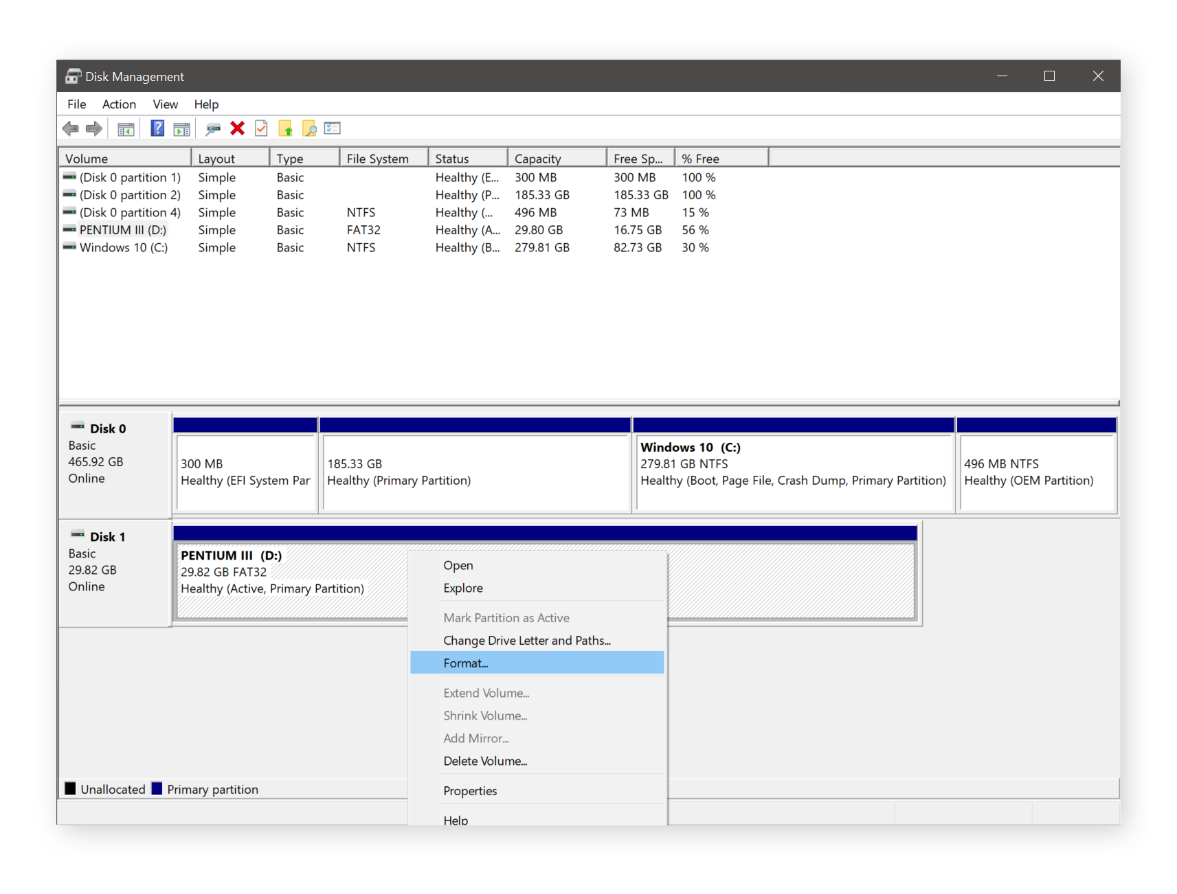 Using disk management to format drive in Windows