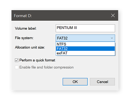 Selecting a file system before reformatting the drive