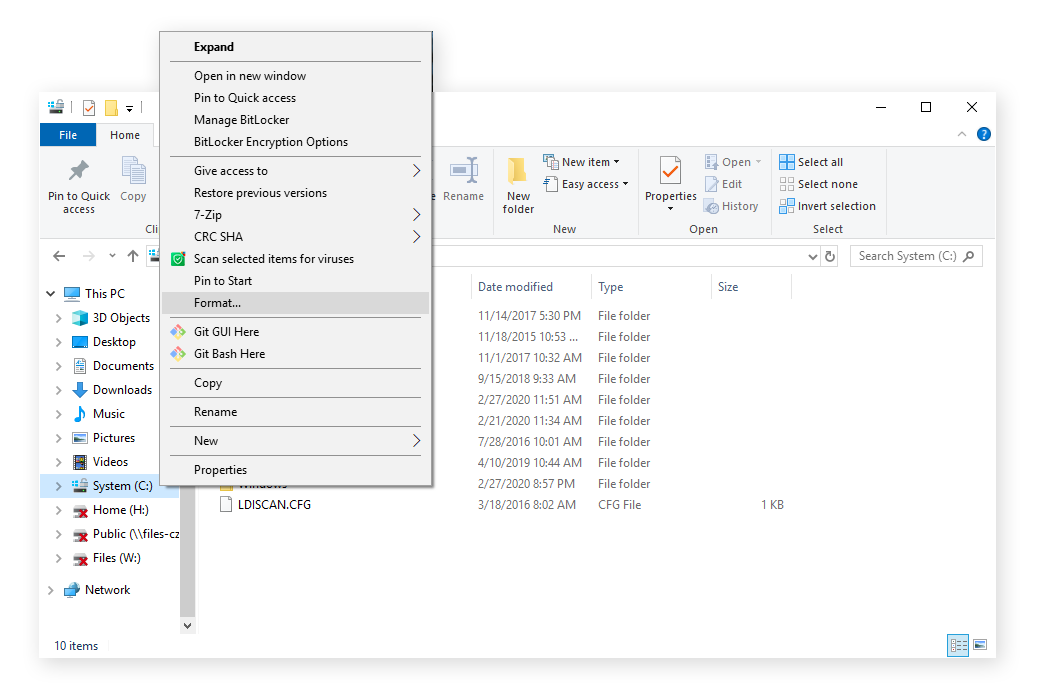 Formatting a drive quickly from the Windows Explorer screen to use a different file system.