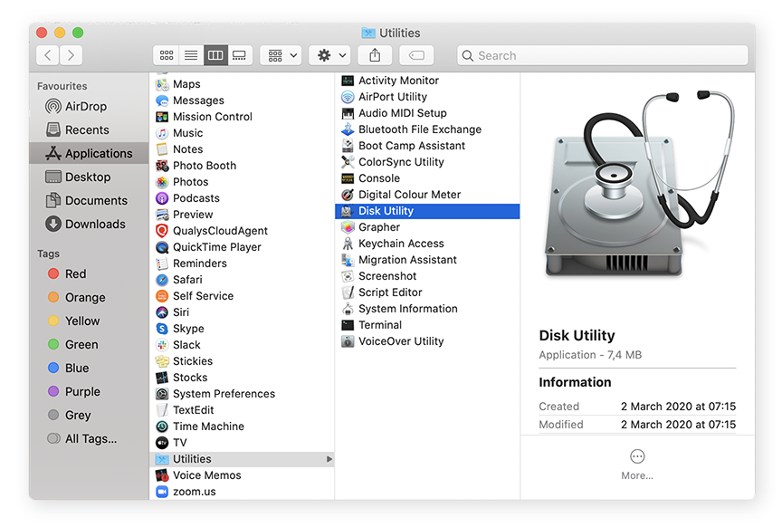 Opening Disk Utility from Applications