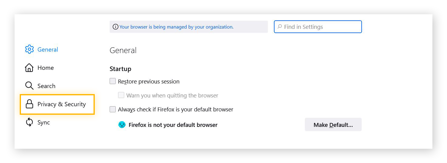 Screenshot of the Settings menu in Firefox, with the Privacy & Security option highlighted