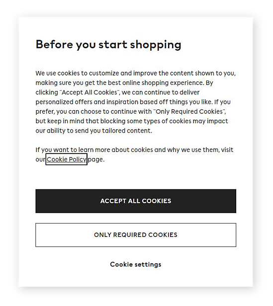 Screenshot of a typical Cookies pop-up from a legitimate website