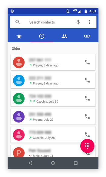 Phone app open on android phone and the tab with recent call history is displayed.