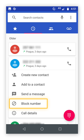 Recent call from call history tapped to reveal a drop down menu, with block number option highlighted.