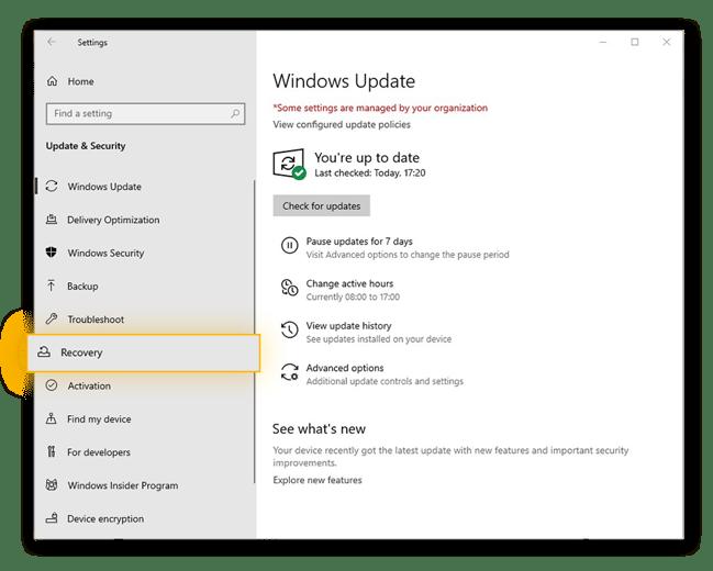 The Update & Security menu in Windows 10