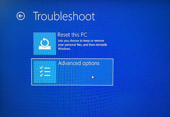 Troubleshooting your PC during startup in Windows 10