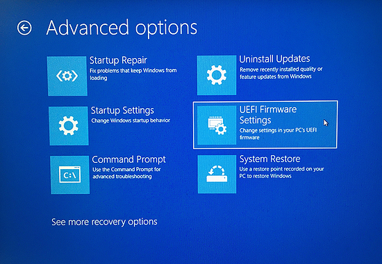 Advanced options for troubleshooting your PC in Windows 10