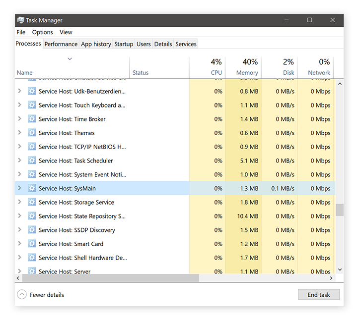 Task-Manager showing SuperFetch usage