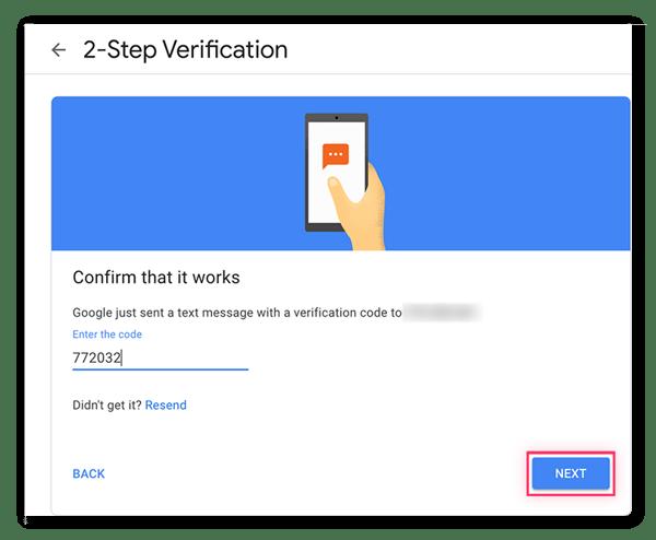 """Geben Sie den soeben erhaltenen Google-Bestätigungscode ein und klicken Sie auf """"Weiter""""."""