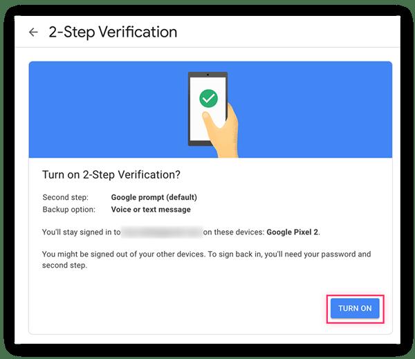 """Der letzte Schritt besteht darin, die Zwei-Schritt-Verifizierung mit der Schaltfläche """"Einschalten"""" zu bestätigen."""