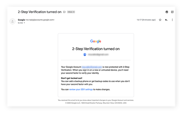 Enfin, Google vous envoie un e-mail pour vous confirmer que vous avez bien activé l'authentification à deux facteurs.