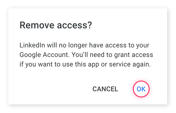 Confirmez la suppression de l'accès de cette application en cliquant sur OK.