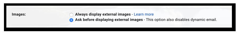 Choix de l'option Demander confirmation avant d'afficher des images externes
