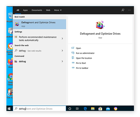 De app Stations defragmenteren en optimaliseren zoeken in het Windows-menu voor Windows 10