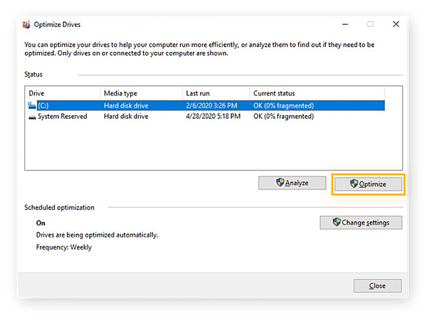 Defragmenting drives with the Optimize Drives function in Windows 10