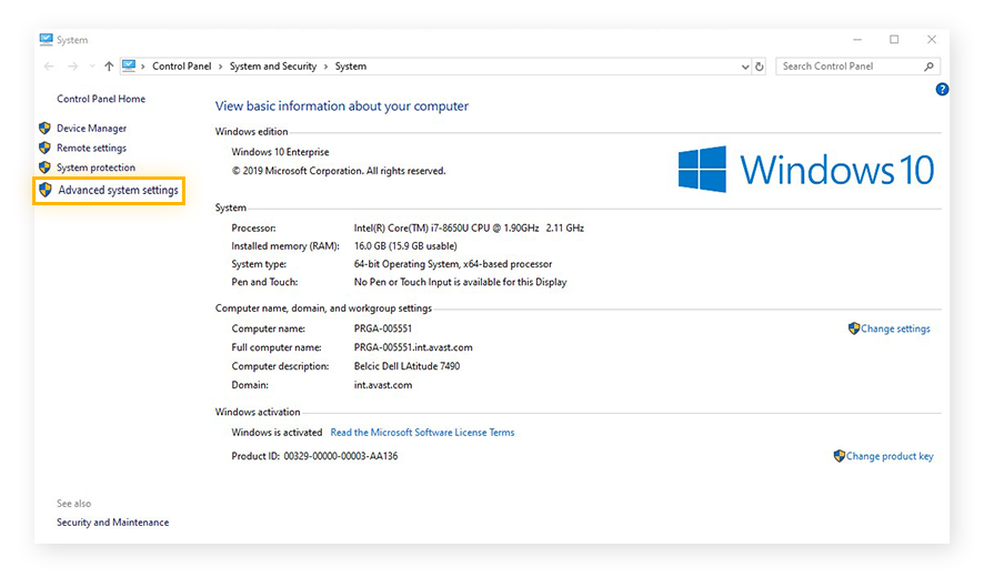 Opening the Advanced system settings within the System settings of Windows 10