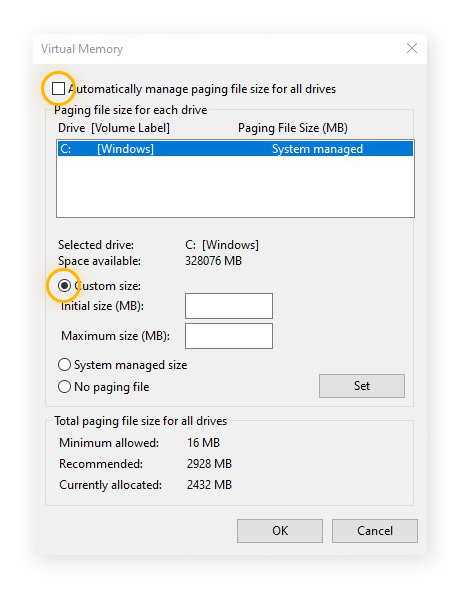The Virtual Memory settings in Windows 10, showing how to set a custom size