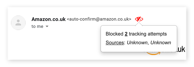 Screenshot showing the red-eye Pixelblock icon next to an email address