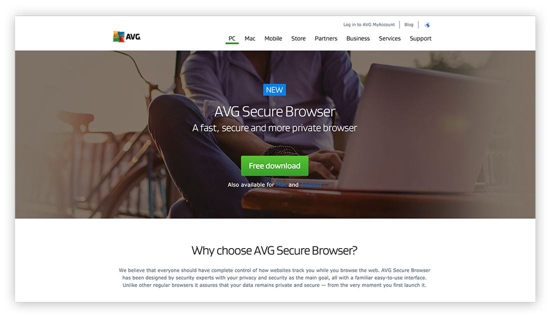 A screenshot of the AVG Secure Browser homepage