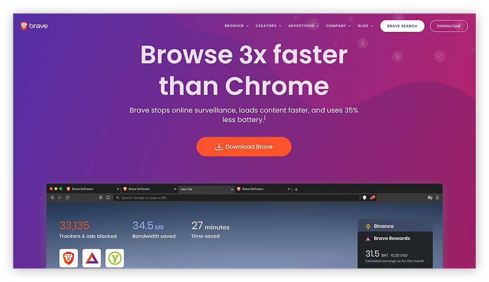 A screenshot of the Brave Browser homepage