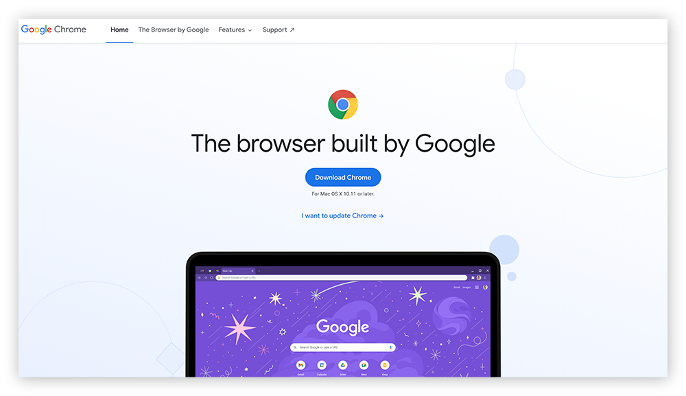 A screenshot of the Google Chrome homepage