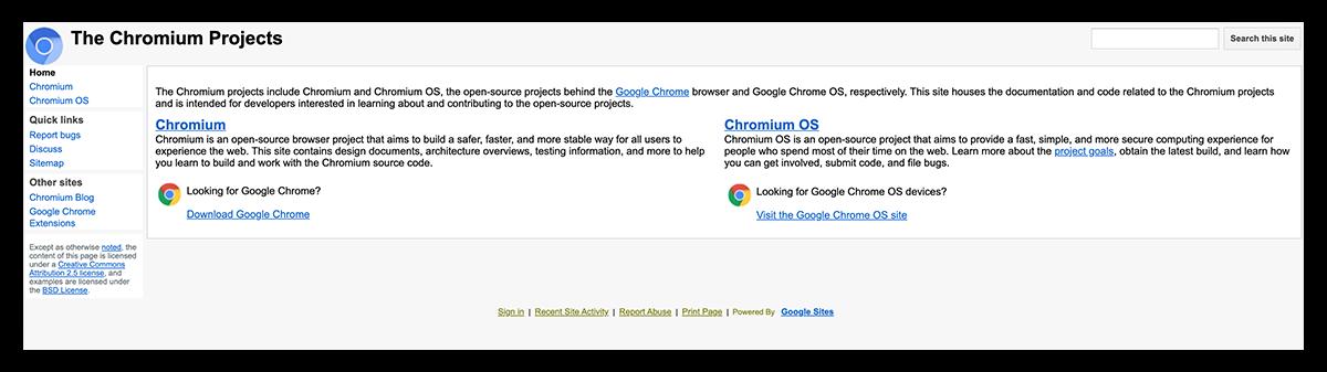 A screenshot of the Google Chromium homepage