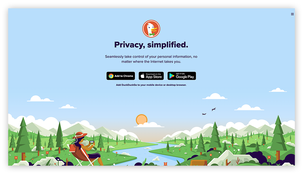 A screenshot of the Duck Duck Go Chrome extension and mobile browser homepage