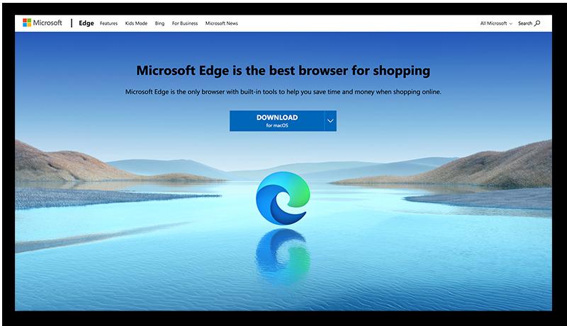 A screenshot of the homepage for Microsoft Edge