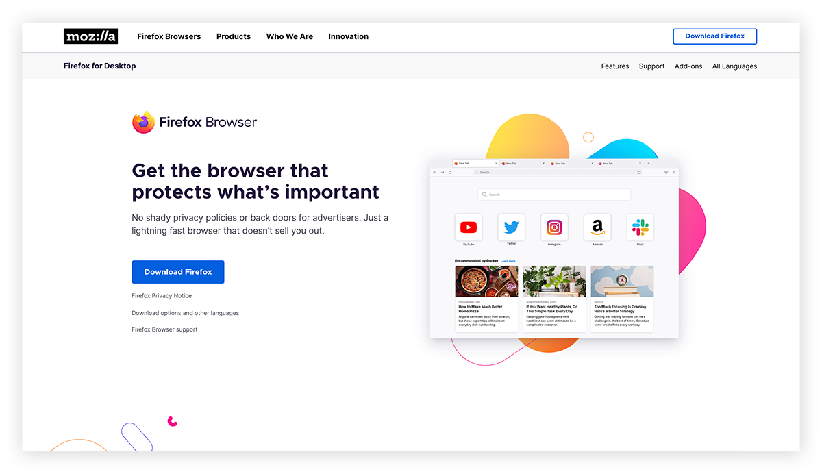 A screenshot of the Firefox browser homepage