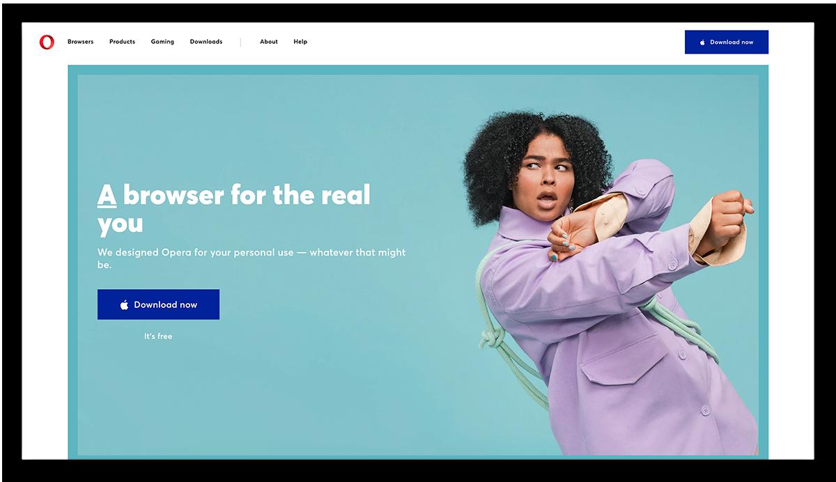 A screenshot of the Opera browser homepage