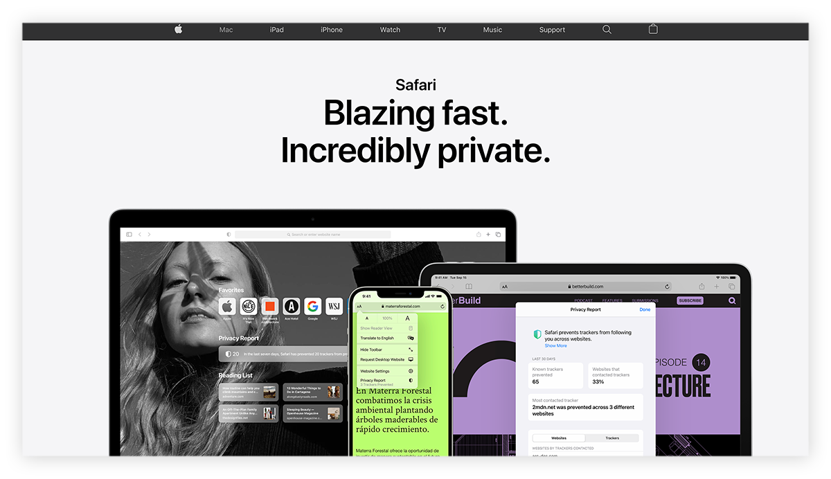 A screenshot of the Safari browser homepage