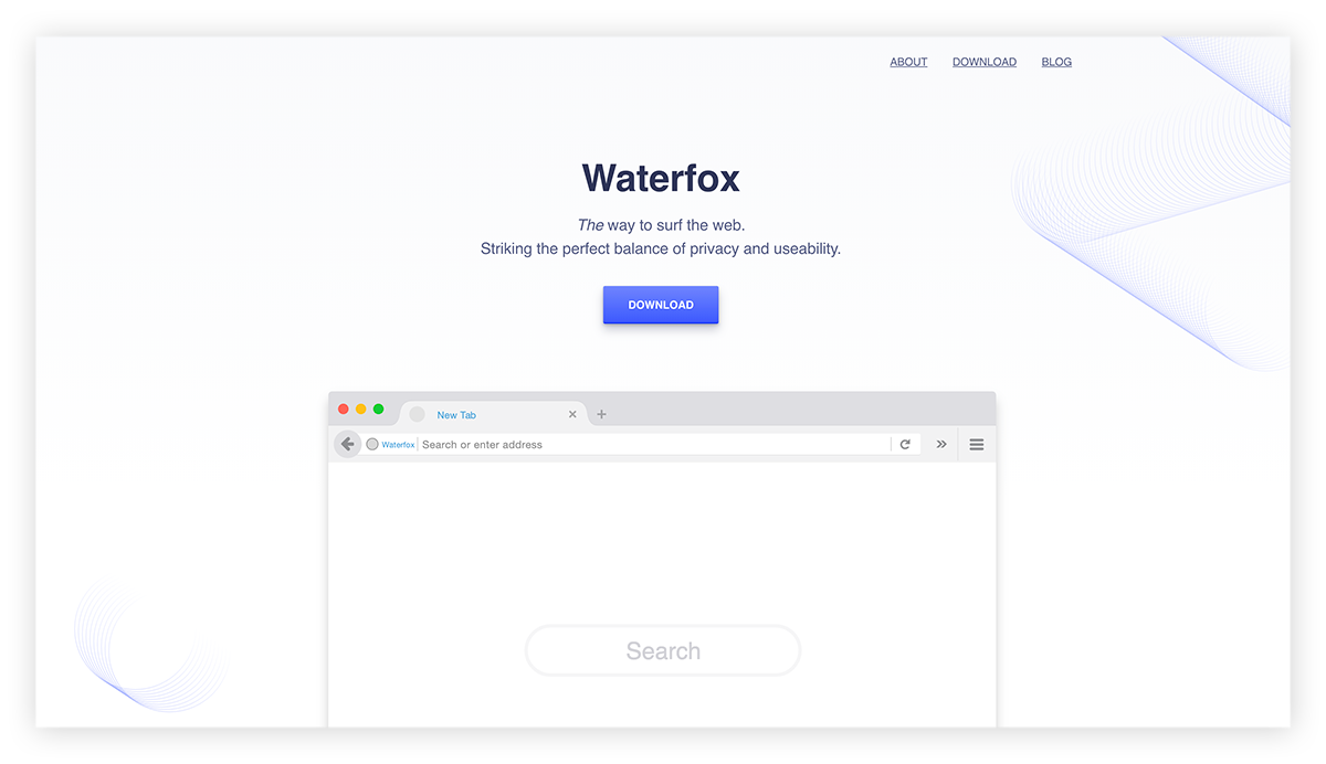 A screenshot of the Waterfox browser homepage