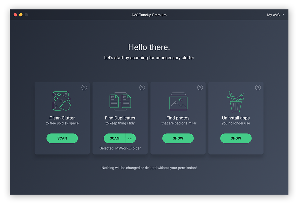 AVG TuneUp is a powerful Mac clean up tool that will clean your disk, find duplicate files, and uninstall unused apps.