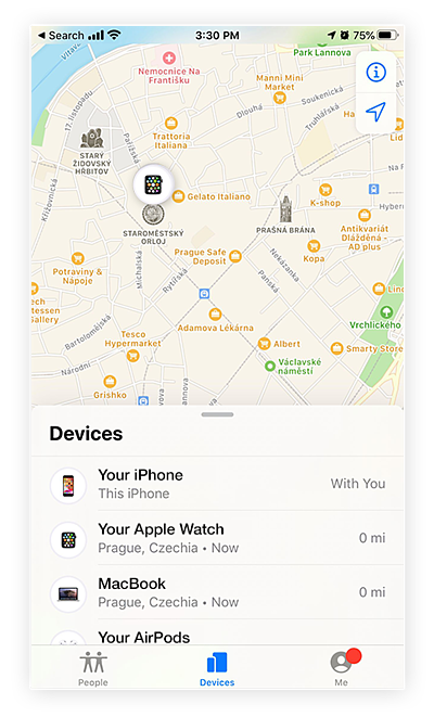Screenshot of Find My iPhone app which helps locate your iPhone, Apple Watch, MacBook, or AirPods if lost or stolen.