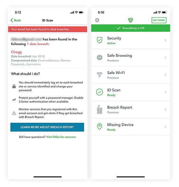 Screenshots of Lookout Mobile Security app showing app features like Safe Wi-Fi, Safe Browsing, and info on recent data breaches.
