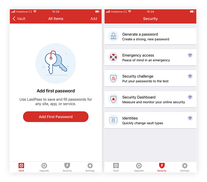 Screenshots of LastPass app showing easy user set up and various security options.