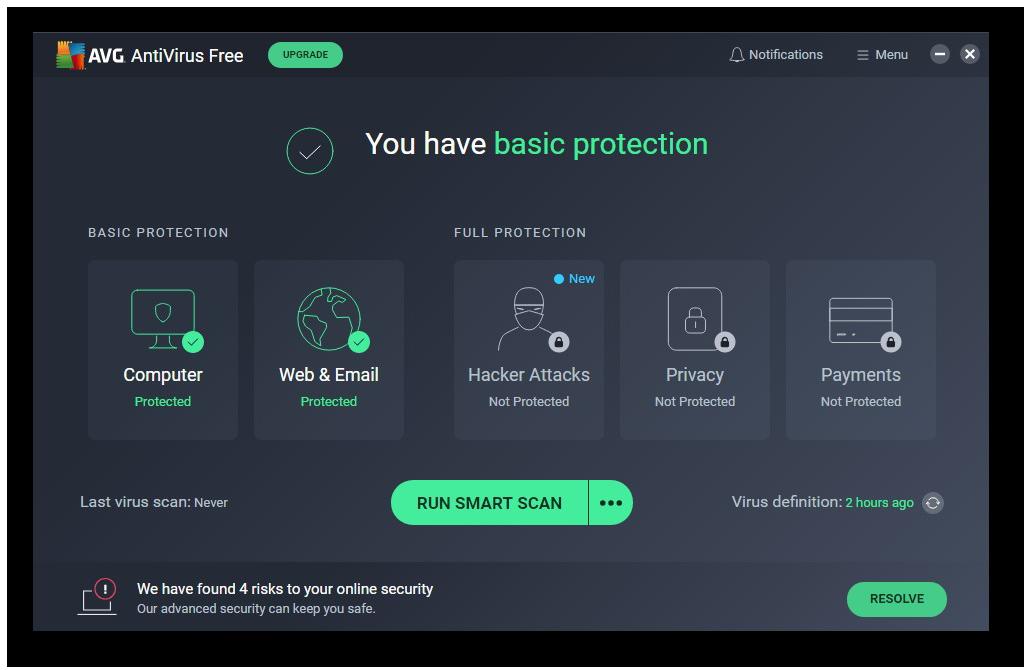 AVG AntiVirus FREE guards against viruses, hackers, and phishing scams.