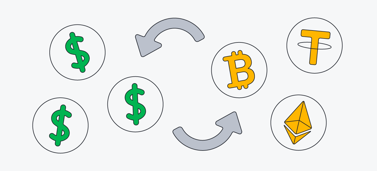 A diagram showing an exchange of fiat currency and cryptocurrency at a crypto exchange