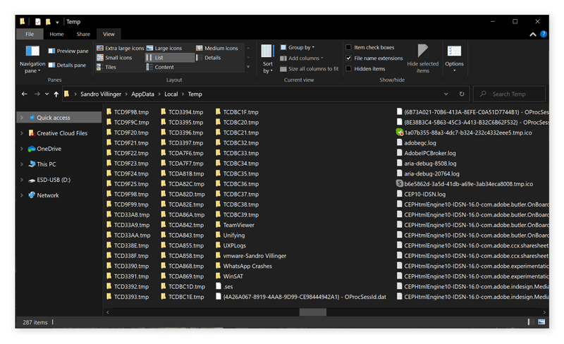 Screenshot of temporary junk files that stay hidden on your computer's hard drive.
