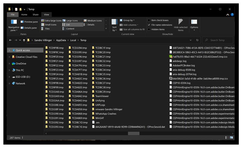 Schermafbeelding van ongewenste en verborgen tijdelijke bestanden op de harde schijf van uw computer.