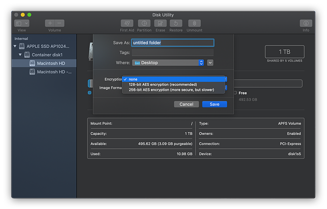 Encrypting a folder with Disk Utility in macOS Catalina