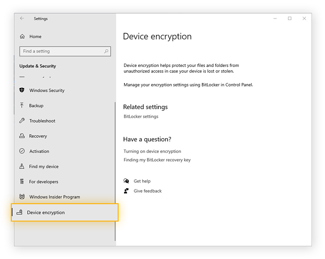 Activating full-disk encryption in the Settings of Windows 10